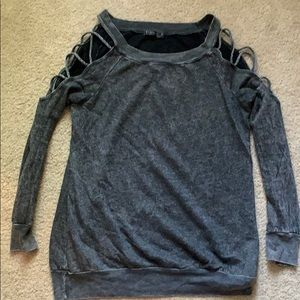 Sweatshirt with Cut Outs on Sleeves